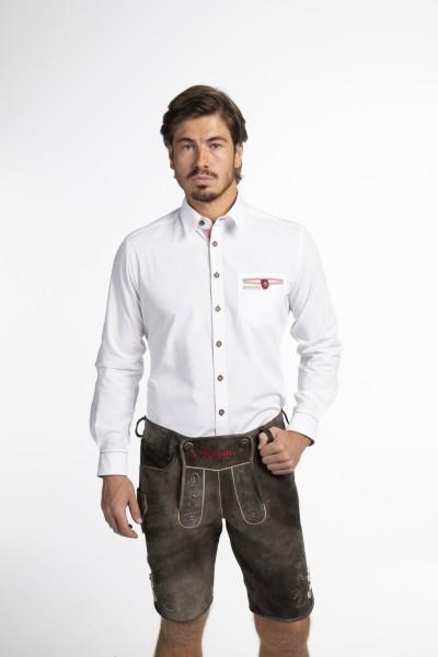 Trachtenhemd - weiß mit roten Akzenten (Herren)