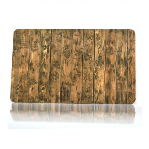 Frühstücksbrettchen Holzwand